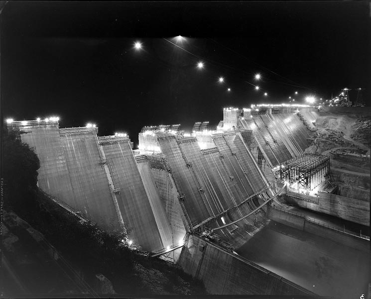 Norris Dam Construction At Night