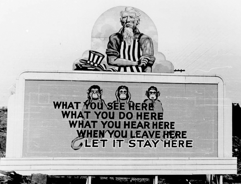 Secrecy Billboard At Oak Ridge